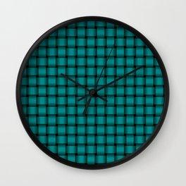 Small Dark Cyan Weave Wall Clock