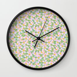 Pink Dogrose Flowers on Sky Blue Wall Clock