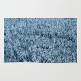 Winter pine forest aerial - Landscape Photography Rug