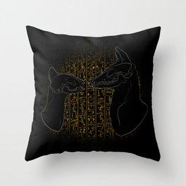 Sacred Anubis & Bastet Throw Pillow