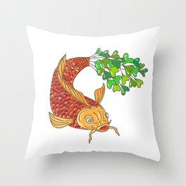Koi Nishikigoi Carp Fish Microgreen Tail Drawing Throw Pillow