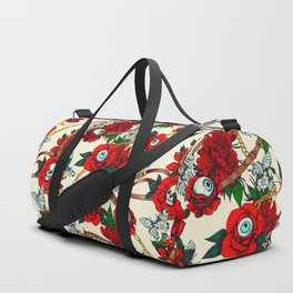 Flowery eyes on straps and chains Duffle Bag