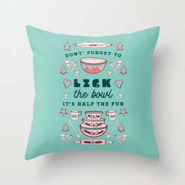 Don't Forget to Lick the Bowl Vintage Christmas Throw Pillow