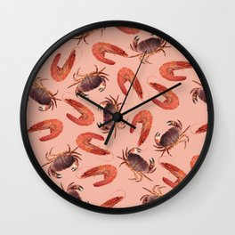 crab shrimps pattern coral Wall Clock