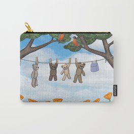 robins, poppies, & teddy bears on the line Carry-All Pouch