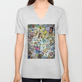 Postage Stamp Collection Unisex V-Neck