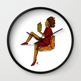 Reading nook colour// one line illustration  Wall Clock