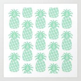 Retro Mid Century Modern Pineapple Pattern Mint Green Art Print