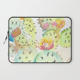 Watercolor Cute Cactus With Flowers Laptop Sleeve