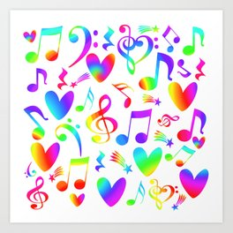 Colorful Musical Rainbow Notes Hearts Stars Art Print