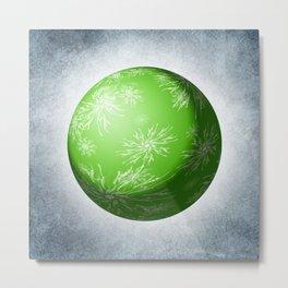Green snowflake Sphere Metal Print
