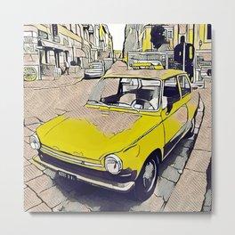 Old yellow vintage daf car in Milano Metal Print