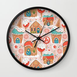 Gingerbread Candy Land Gingerbread Candy Landon pink Wall Clock