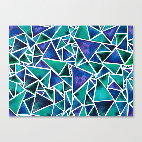 Geometric Turquoise and Blue Triangles Canvas Print