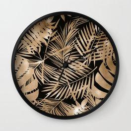 Gold Foil Tropical Leaf Pattern Wall Clock