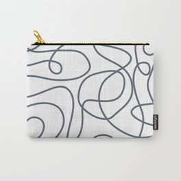 Doodle Line Art   Dark Blue-Gray Lines on White Background Carry-All Pouch