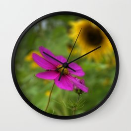 Purple and Yellow WIldflowers Wall Clock