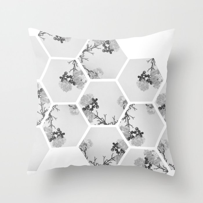 Hexagon Flowers. Throw Pillow