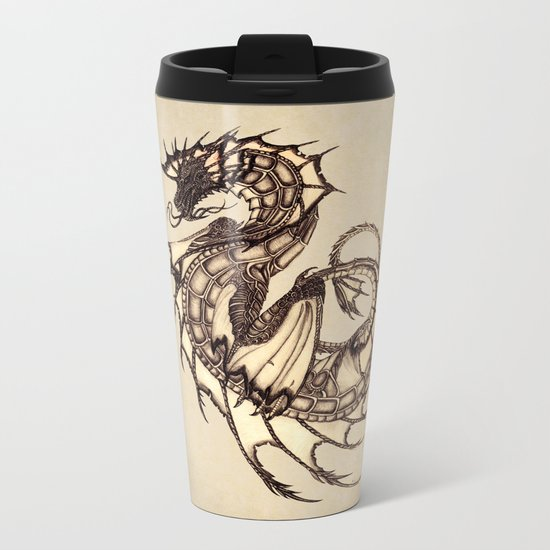 """Tsunami"" by Amber Marine ~ Sea Dragon ~ Graphite & Charcoal Illustration, (c) 2005 Metal Travel Mug"