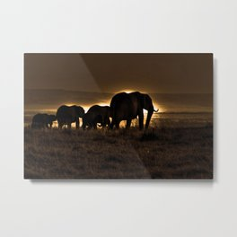 Elephant Herd On The Masai Mara Metal Print