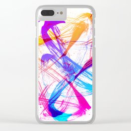 Vibrant and Expressive Multicolor Brushstrokes Clear iPhone Case