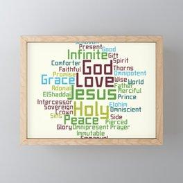 Names and Attributes of Jesus Word Cloud Framed Mini Art Print