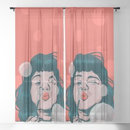 Girl bubbles Sheer Curtain