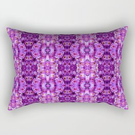 Violet Purple White Flower Pattern Rectangular Pillow