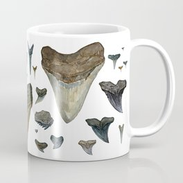 Fossil shark teeth watercolor Coffee Mug