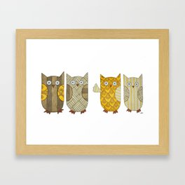 4 Gold Owls Framed Art Print