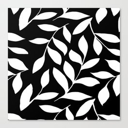 WHITE AND BLACK LEAVES DESIGN PATTERN Canvas Print