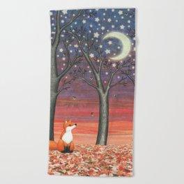 fox & fireflies Beach Towel