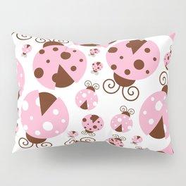 Ladybugs (Ladybirds, Lady Beetles) - Pink Brown Pillow Sham