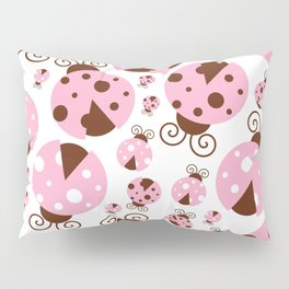 Ladybugs (Ladybirds, Lady Beetles) - Pink Brown Pillow Sham