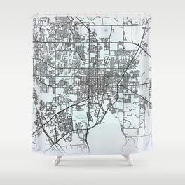 Gainesville, FL, USA, City Map Shower Curtain