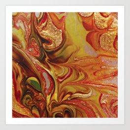 Vibrant dark orange shimmering Abstract Art Art Print