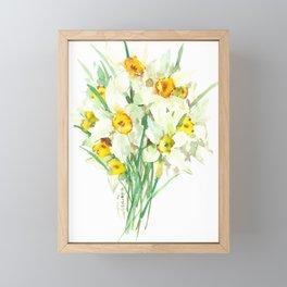 Daffodil Flowers, White spring flowers, Green yellow spring colored design Framed Mini Art Print