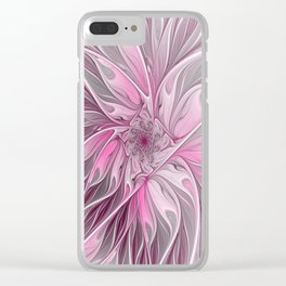 Abstract Pink Floral Dream Clear iPhone Case