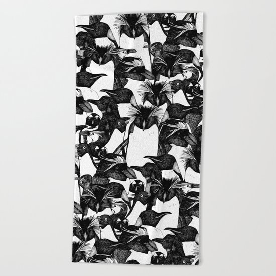 just penguins black white Beach Towel