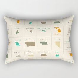 Federal states of the USA overview Rectangular Pillow