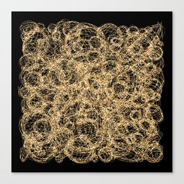 Gold Thread on Black | Abstract Brain Map 3 Canvas Print