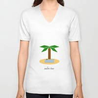 palm tree V-neck T-shirts featuring Palm Tree by Veronica Grande