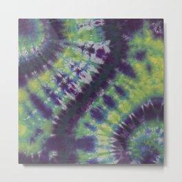 Spiral Tie Dye Purple Green Blue Yellow Metal Print