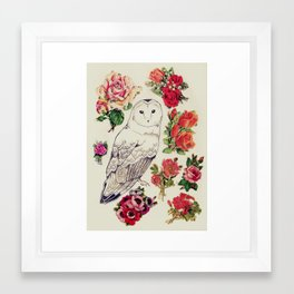 flower owl Framed Art Print