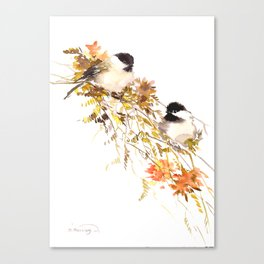 Chickadee bird art, design, chickadees artwork Canvas Print