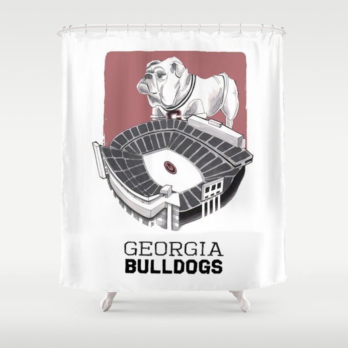 Merveilleux UGA Print Shower Curtain