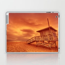 Lifeguard tower with the rosy afterglow of a sunset at Hermosa Beach, California Laptop & iPad Skin