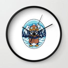 Winter Penguin Illustration Wall Clock