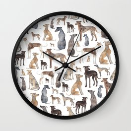 Greyhounds and Whippets Wall Clock
