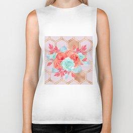 Blush pink hexagons succulent bouquet Biker Tank